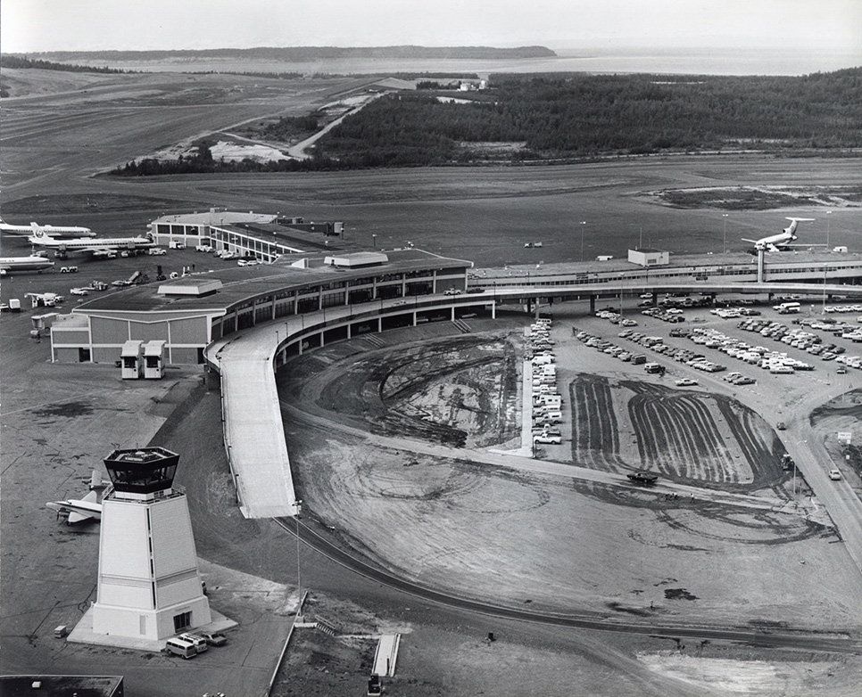 Construction of Anchorage International Airport began in 1949.