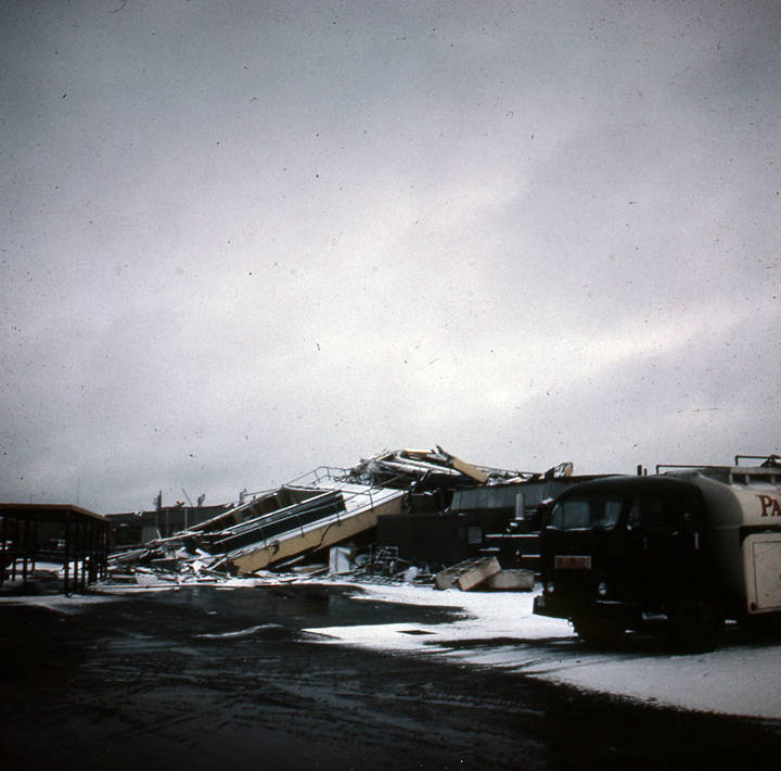 Anchorage International Airport after the 1964 earthquake.